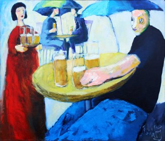 Living room painting by Miro Biały titled Barfly