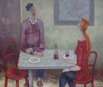 Obraz do salonu artysty Henryk Trojan pod tytułem Wnętrze z czerwonymi krzesłami