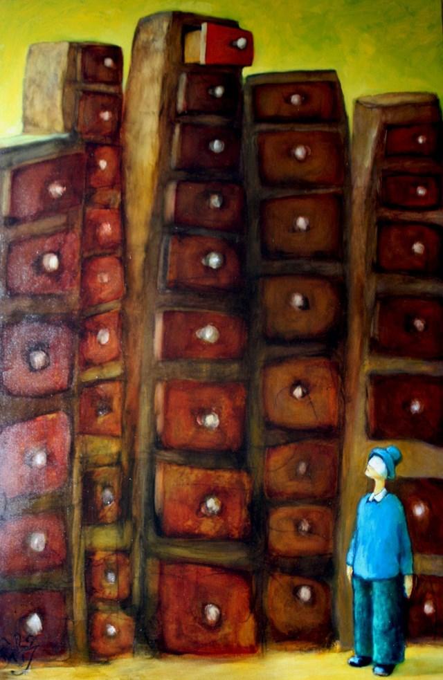 Obraz do salonu artysty Miro Biały pod tytułem Gdzie jest moja szuflada?