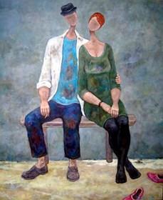 Obraz do salonu artysty Henryk Trojan pod tytułem Różowe pantofle