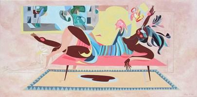 Living room painting by Filip Gruszczyński titled Medic et les meduses