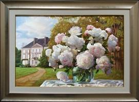 Obraz do salonu artysty Zbigniew Kopania pod tytułem Peonie przed pałacem