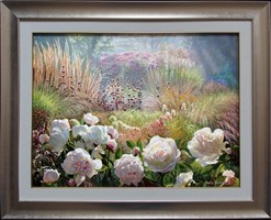 Living room painting by Zbigniew Kopania titled Morning Peonies