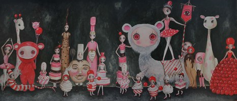 Living room painting by Estera Parysz-Mroczkowska titled Cookie party