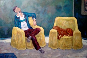 Living room painting by Henryk Trojan titled A man