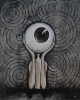 Living room painting by Estera Parysz-Mroczkowska titled Men eye
