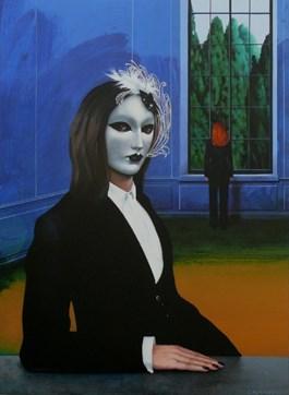 Obraz do salonu artysty Henryk Laskowski pod tytułem Dziewczyna w weneckiej masce
