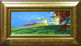 Obraz do salonu artysty Wacław Jagielski pod tytułem Wiatraki na Mykonos