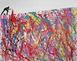 Obraz do salonu artysty Piotr Szwabe pod tytułem TAŃCZĄC Z POLLOCKIEM