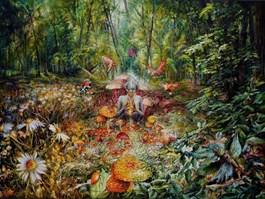 Obraz do salonu artysty Andrzej Masianis pod tytułem RAGANA - PRUSKA WIEDŹMA W DIABELSKIM KRĘGU