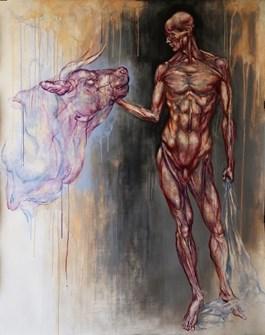 Obraz do salonu artysty Wojciech Pelc pod tytułem MĘŻCZYZNA I BYK