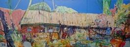 Obraz do salonu artysty Krzysztof Ludwin pod tytułem NIEBIAŃSKA STODOŁA DZIADKA ANDRZEJA