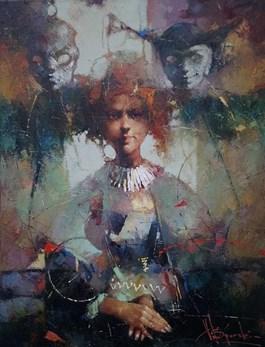 Obraz do salonu artysty Wacław Sporski pod tytułem PRZYGOTOWANIA DO PRZEDSTAWIENIA