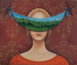 Obraz do salonu artysty Malwina de Brade pod tytułem PTASIA PIEŚŃ