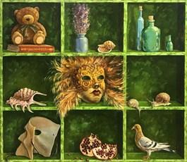 Obraz do salonu artysty Aleksander Yasin pod tytułem PÓŁKA PRZEDMIOTÓW