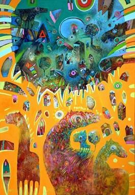 Obraz do salonu artysty Grzegorz Skrzypek pod tytułem SŁONECZNIKOWY WSZECHŚWIAT