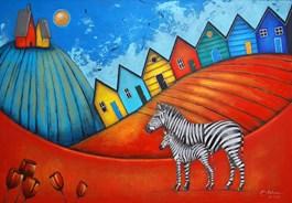 Obraz do salonu artysty Małgorzata Rukszan pod tytułem NAJBLIŻEJ ZENITU Z CYKLU POGODA W PASKI