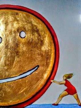Obraz do salonu artysty Miro Biały pod tytułem HULA HOP CZYLI LAJKI DLA CIEBIE
