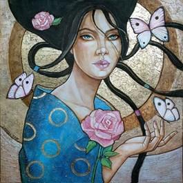 Obraz do salonu artysty Joanna Misztal pod tytułem Magnetyzm pudrowej róży