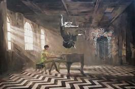 Obraz do salonu artysty Janusz Orzechowski pod tytułem Przerwana lekcja muzyki V