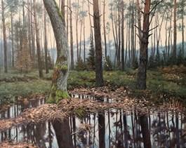 Obraz do salonu artysty Wojciech Piekarski pod tytułem Podmokły las