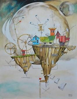 """Obraz do salonu artysty Dariusz Franciszek Różyc pod tytułem VIMANA 1(cykl """"Nie tak odległe..."""")"""