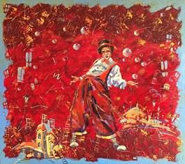 Obraz do salonu artysty Aleksander Yasin pod tytułem Klaun na czerwono