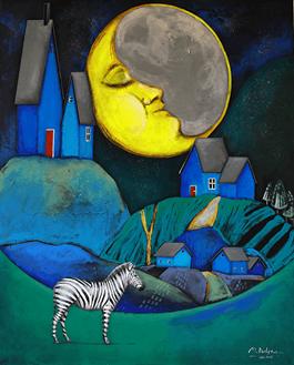 Obraz do salonu artysty Małgorzata Rukszan pod tytułem Lunaland (z cyklu Pogoda w paski)