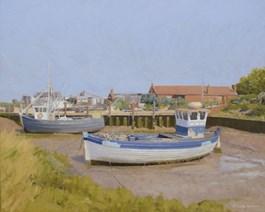 Obraz do salonu artysty Michał Janicki pod tytułem Port rybacki w Norfolk