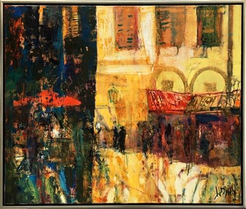 Obraz do salonu artysty Krzysztof Ludwin pod tytułem Wspomnienie Arezzo z cyklu Spokojny Ekspresjonizm