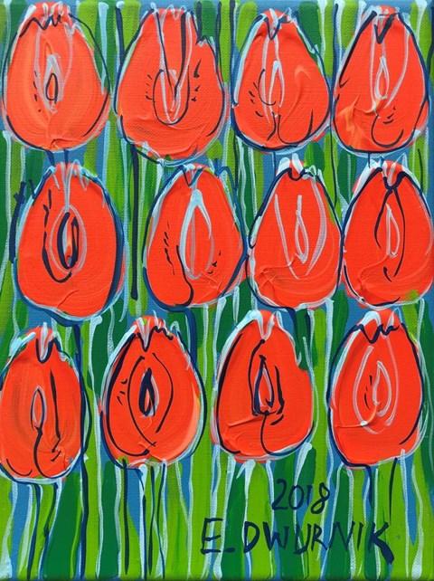 Obraz do salonu artysty Edward Dwurnik pod tytułem Tulipany pomarańczowe