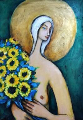 Obraz do salonu artysty Miro Biały pod tytułem Ona ze słonecznikami