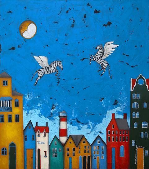 Obraz do salonu artysty Małgorzata Rukszan pod tytułem Pogoda w paski - Ulotne