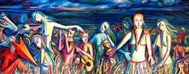 Obraz do salonu artysty Maciej Cieśla pod tytułem Przyjdą po nas nasze demony