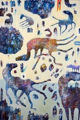Obraz do salonu artysty Grzegorz Skrzypek pod tytułem Grawitostworek z fioletowym ogonkiem