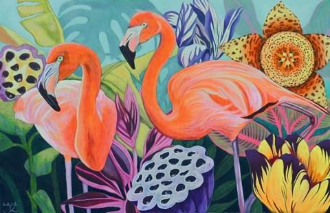 Obraz do salonu artysty Janina Zaborowska pod tytułem Flamingi