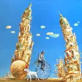 Obraz do salonu artysty Aleksander Yasin pod tytułem Pies w czerwonym cylindrze