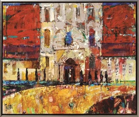 Obraz do salonu artysty Krzysztof Ludwin pod tytułem Czerwone niebo nad katedrą w Alcabaca