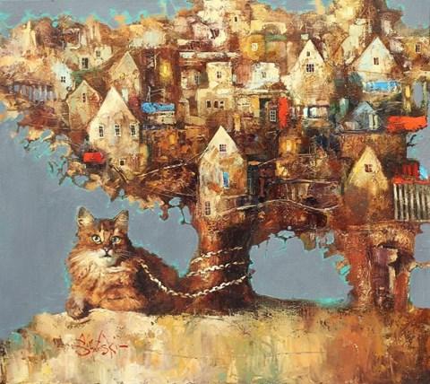Obraz do salonu artysty Alex Sporski pod tytułem Uczony kot
