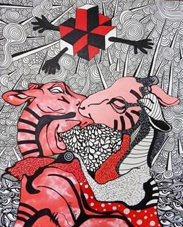 Obraz do salonu artysty Marcin Painta pod tytułem Uczłowieczenie (cykl Don't be a square)