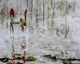 Obraz do salonu artysty Misia Łukasiewicz pod tytułem Król i żabol grający w karty