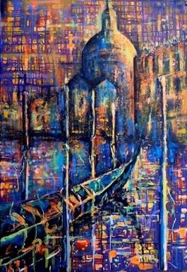 Obraz do salonu artysty Łukasz Jankiewicz pod tytułem Wenecja nocą