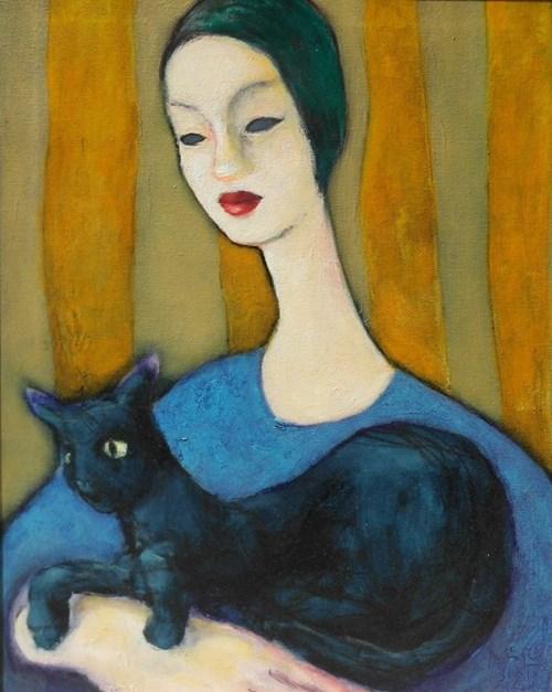 Obraz do salonu artysty Miro Biały pod tytułem Czarny kocur