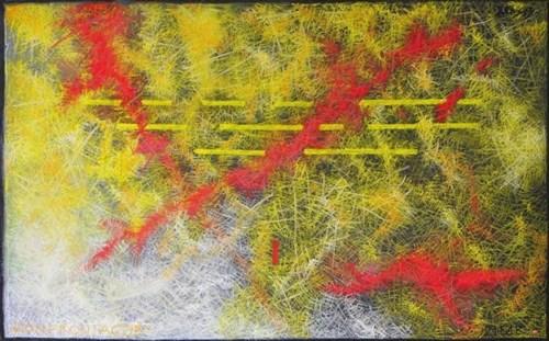 Living room painting by Aleksander Marek Korman titled Confrontations