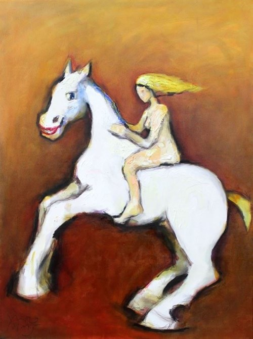Living room painting by Miro Biały titled Crazy horse and crazy she