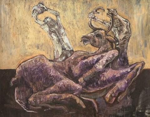 Obraz do salonu artysty Wojciech Chełchowski pod tytułem Hunting with father,