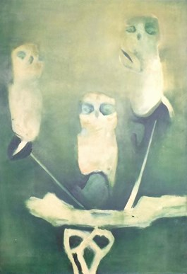 Living room painting by Edyta Duduś titled Owls XIII