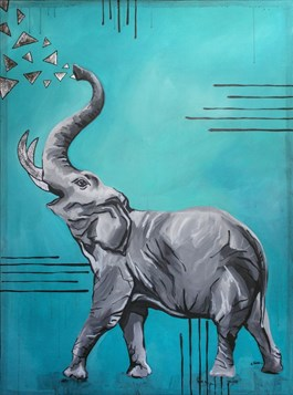 Living room painting by Monika Mrowiec titled The elephant is lucky