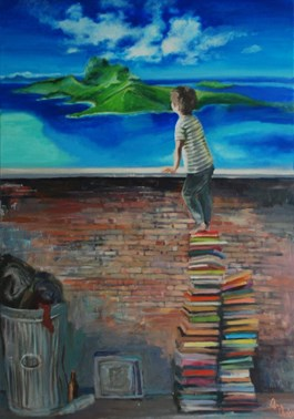 Living room painting by Katarzyna Orońska titled Boy and books