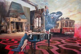 Living room painting by Janusz Orzechowski titled Dream